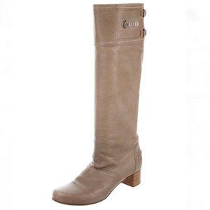 Casadei leather short heel knee-high beige boots